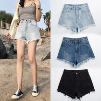 Korean version of the wide leg jeans High waist relaxed slim student shorts