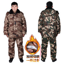 Cold Storage overalls labor protection cotton-padded jacket cold set men winter thickening security desert camouflage Army coat cotton coat