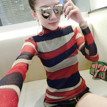Fashion high neck and winter net yarn T-shirt