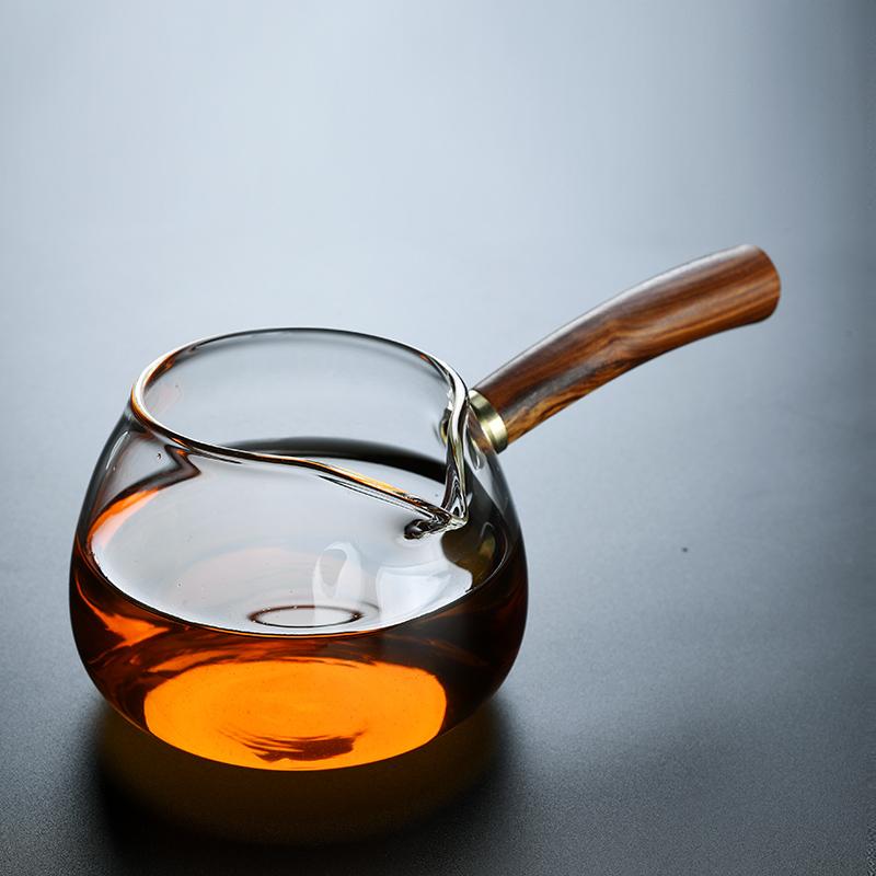 Old Wange glass Japanese side of the wooden fair cup large tea sea transparent hammer pattern tea leak tea filter
