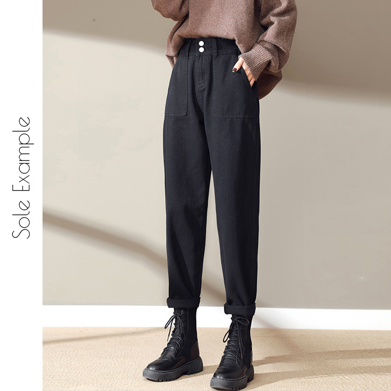 Black jeans women autumn winter 2020 new high-waisted thin straight barrel loose-fitting 蔔 and Harlan dad pants