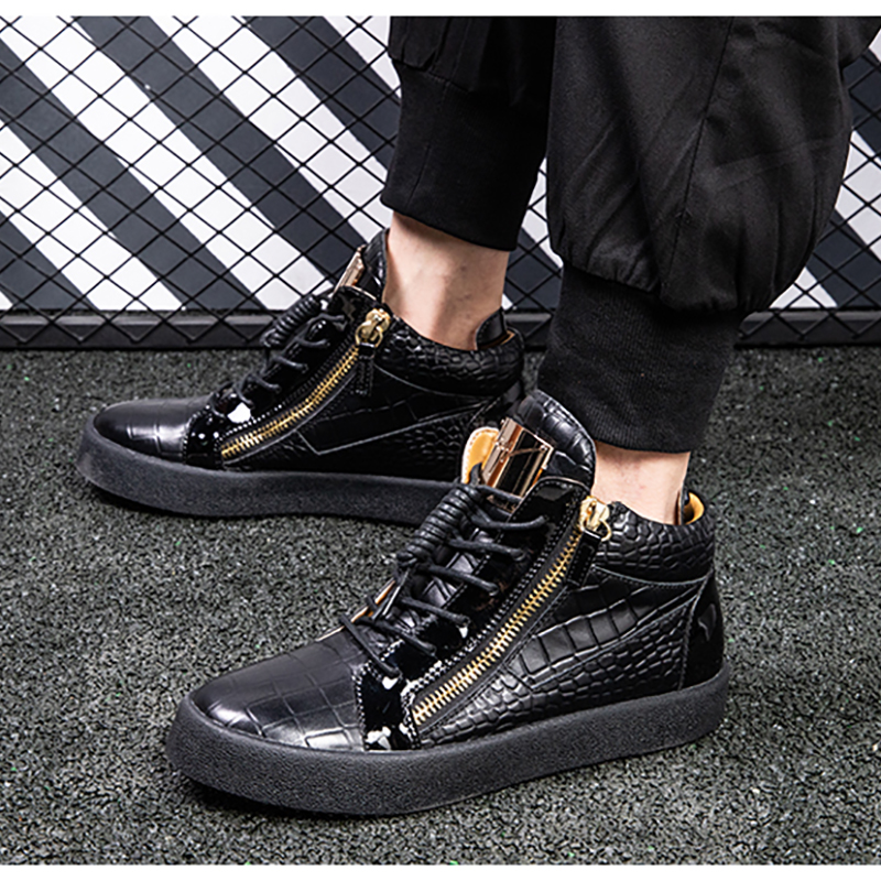 SIVRICL-GZ men's shoes mid-top, first layer calfskin, inner increased leather, high-top casual zipper sneakers