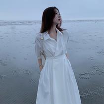 French temperament minimalist style white shirt dress female 2021 spring and summer new goddess thin design sense long dress