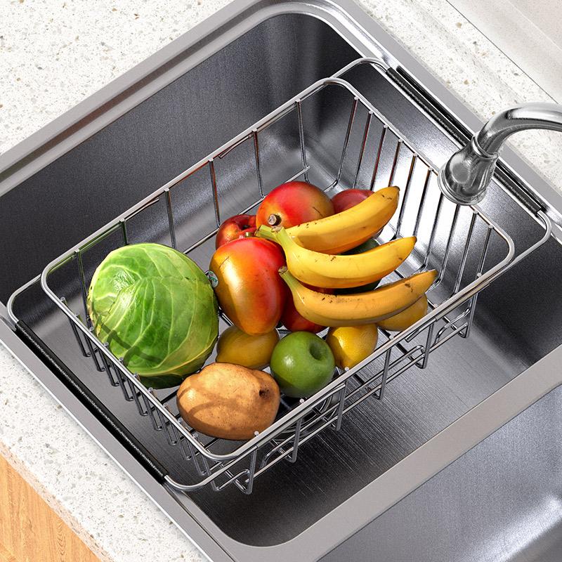 Мытье посуды бассейн раковина корзина из нержавеющей стали домашней кухни мытья посуды корзина утечка бассейн фильтр вытягивается