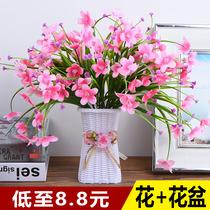 Декоративные поддельные цветы имитация сухие цветы внутренняя мебель обеденный стол журнальный столик украшения гостиная пластиковые цветочные букеты небольшие горшечные растения