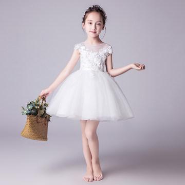女童礼服公主裙儿童走秀蓬蓬纱白色花童婚纱小主持人钢琴演