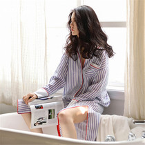 Womens pajamas cotton long sleeve spring striped cardigan sexy nightdress female loose can wear cotton home wear
