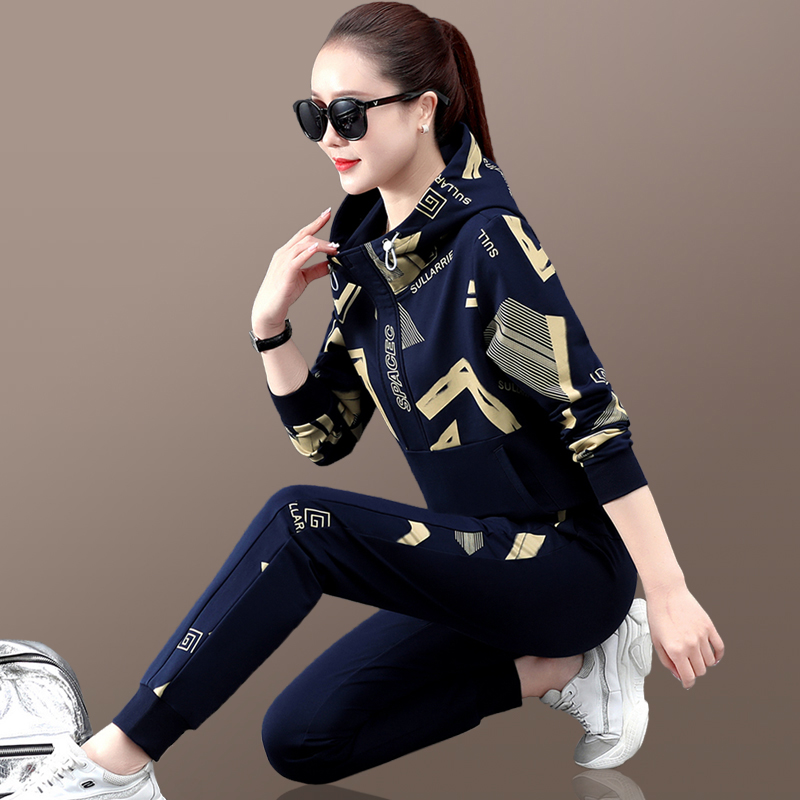 Sports suit womens spring and autumn 2021 new foreign-style Korean age-reducing clothing fashion running clothes casual two-piece style