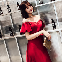 Red toasting dress wedding long dress womens evening gown 2018 summer new engagement back to the door summer slim fit
