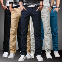 Slim thin fashion trends casual Korean mens relaxed Summer pants