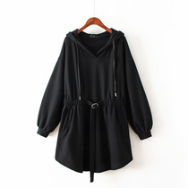 Big code Waist Hooded Pure Color Korean version autumn and winter hundred dress