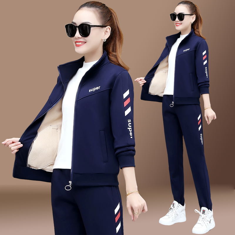 Plus-plus-thick sports suit womens autumn and winter fashion big size yang pie warm casual running clothes two-piece set