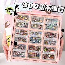 100张pet防水手账贴纸 ins风手帐素材套装透明可爱卡通装饰小图案