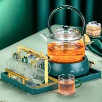 Nordic light luxury glass afternoon tea tea set Flower fruit tea Fruit tea heated teapot five-piece European