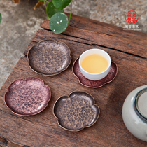 Cup Mat tea ceremony Chinese wind copper cup bracket metal cup pad handmade pure copper Saucer tea Ceremony Tea Set Accessories