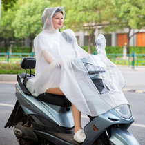 Electric motorcycle fashion transparent raincoat female bicycle adult riding translucent battery car single poncho