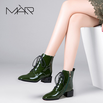 Fall winter leather square chunky heels with straps of England Martin boots