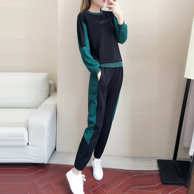 Hong Kong Tide brand 2020 autumn new Korean version of the fashion casual minimalist set womens loose and thin sports two-piece suit
