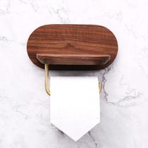 Vegetarian Black walnut brass kitchen tissue rack Creative toilet bathroom roll paper mobile phone locker rack
