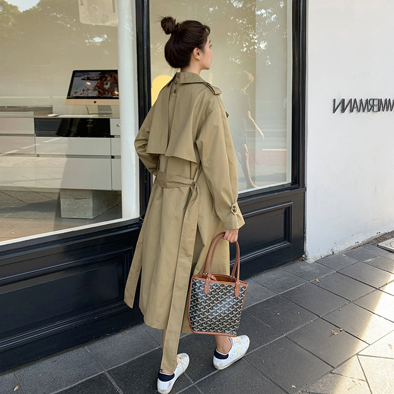 windbreaker womens middle length spring and autumn 2021 new spring and autumn Korean version loose temperament khaki over the knee pop coat tide