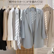 Acetic acid white blazer womens summer new Korean version loose thin medium long satin suit top thin section