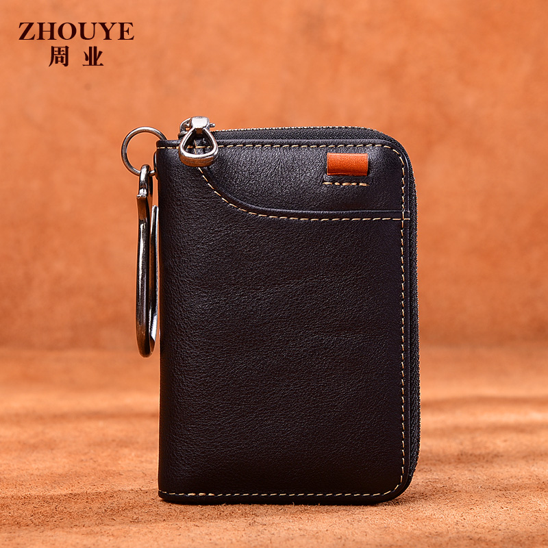 Zhou Ye Key Bag Male Dermis Multifunctional Head Cowhide Zero Purse Short Zipper Handmade Car Key Bag Female