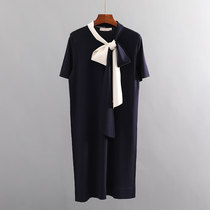tb dress female summer French small group elegant temperament casual ribbon with bow knot tin cyan knitted polo skirt