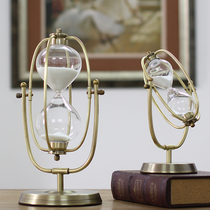 Time Hourglass metal Glass swing hourglass timer Creative gift Home Accessories Study Office Furnishings