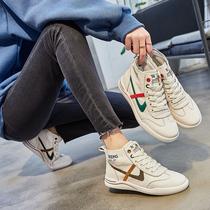 Натуральная кожа маленькая белая обувь женщины 2020 новая обувь приливная весна Джокер плоские высокие кроссовки мода повседневная доска обувь
