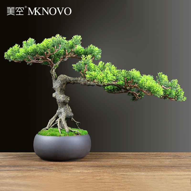 Mekong B001 simulation greeting pine bonsai green potted plants indoor new Chinese style living room tea table decoration
