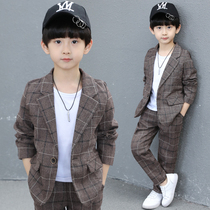 Childrens suit boys spring and autumn set 2020 new Foreign British suit Korean version of the handsome dress three sets of Tide
