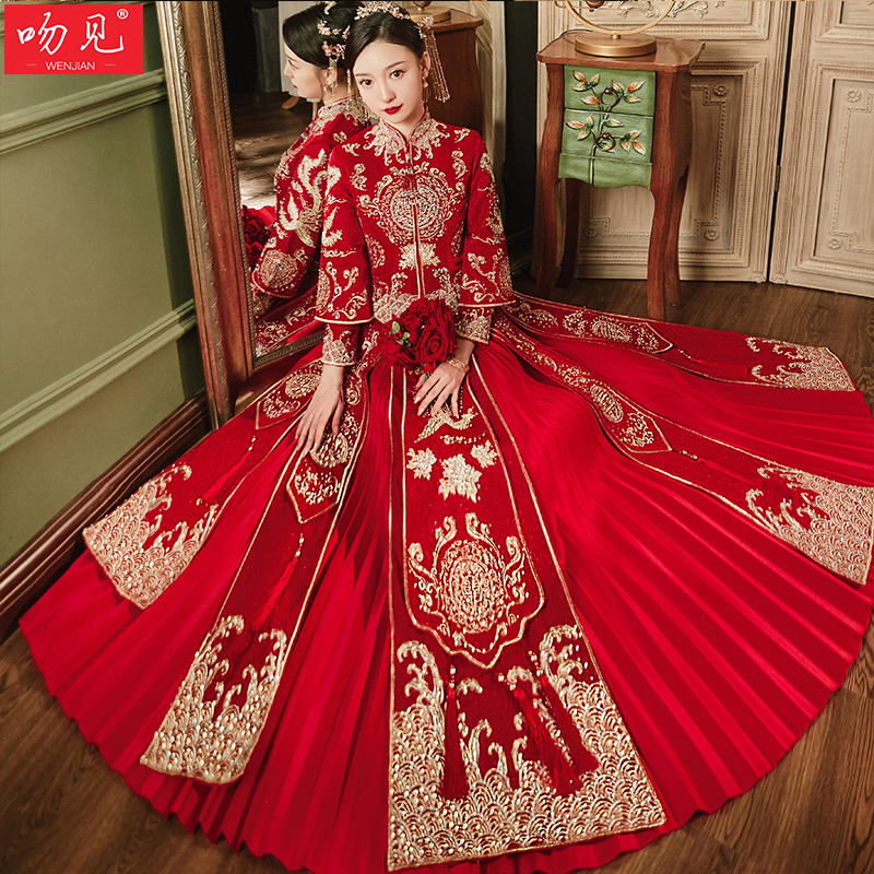 Show clothes 2020 new wedding dress out of the cabinet suit Chinese wedding dress show thin toast dress show and winter girl