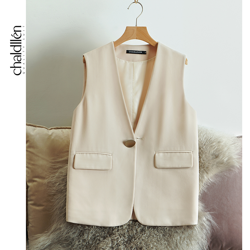 CHALDLLEN white suit waistcoat womens new spring and autumn outside the tide suit horse clip British wind 859