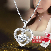 999 sterling silver necklace girls collarbone niche network red tide pendant jewelry Valentines Day gift girlfriend birthday