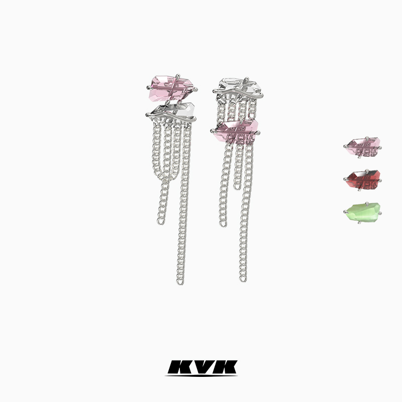KVK peach crystal tassel earrings niche design 2021 new stud temperament high-end earring accessories earrings