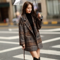 Sandro Beytagh woolen jacket women 2021 autumn and winter loose suit pop Plaid English small suit