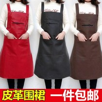 Korean version of the vest-type soft leather waterproof Apron thickened canteen kitchen PU oil-resistant leather apron home ladies kitchen