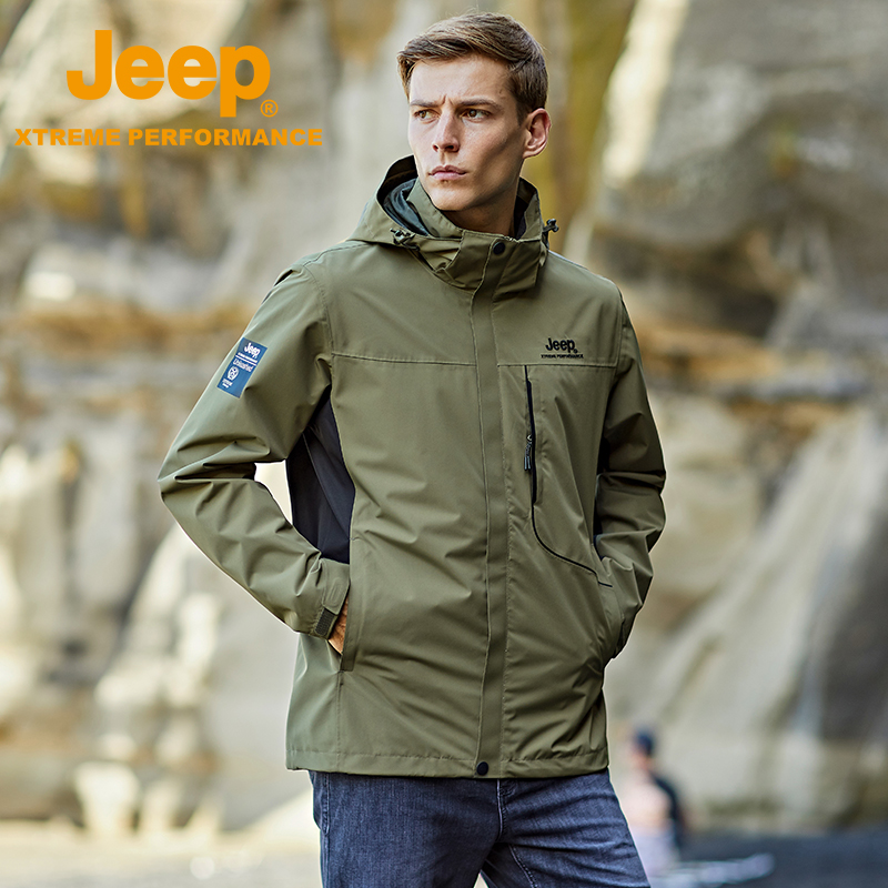 Jeep U.S. military version of the stormtrooper mens spring and autumn thin single-layer outdoor climbing suit wind-proof waterproof tide brand soft shell jacket