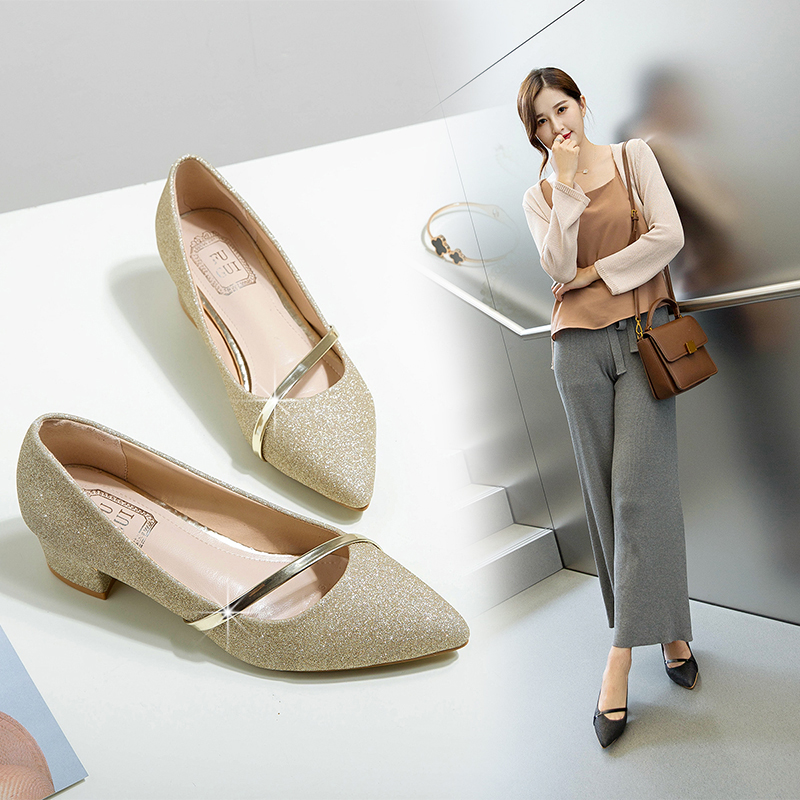 Spring single-shoe lady shoes summer 2019 new style 100-shoe leather shoes Korean version fashion autumn shoes with one heel pedal lady shoes