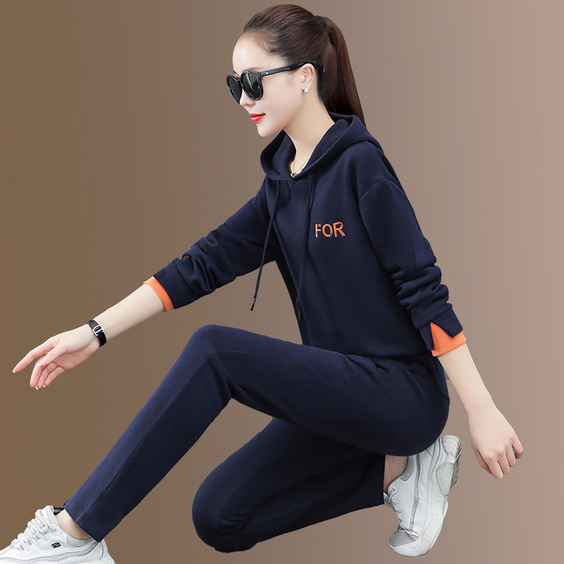 Wei clothing suit womens spring and autumn 2021 new trendy womens fashion casual sportswear loose two-piece set