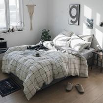 Хлопок листы из четырех частей набор полосатый плед 4-х частей набор-белый комплект постельных принадлежностей британский ветер одеяло обложка на заказ