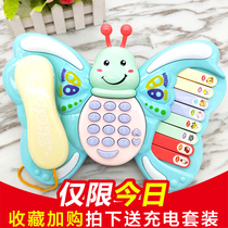 Childrens phone toys baby phone 1-3 years old 0 children butterfly piano Men Girl Simulation music Landline