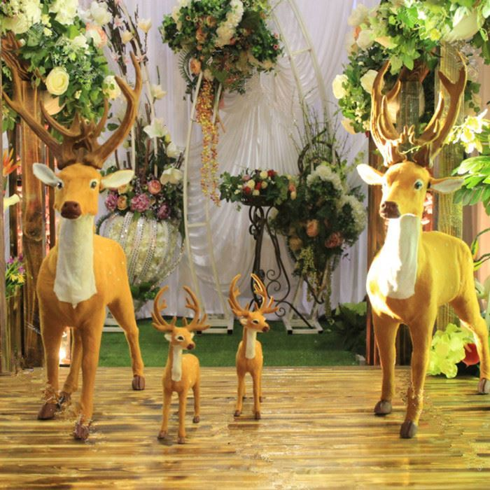Mori wedding prop plum deer set piece wooden pile road lead rabbit squirrel forest fairy tale welcome area animal pose