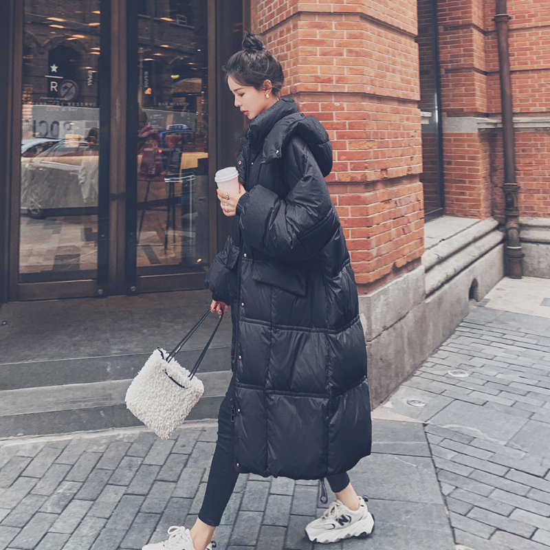 Pregnant women down jacket winter clothing late Korean version of the long version of the knee cotton clothing size plus thick loose cotton wool coat