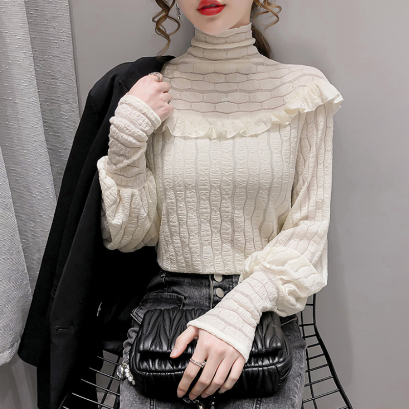 2020 autumn winter new high-necked wooden ear-to-ear 100-dress lantern sleeve top lace bottoms with velvet inner tie