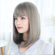 Grandma grey hair wig bangs on net red haired lady clavicle buckle dog hair wig female long straight hair