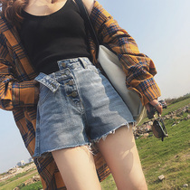 Net red high waist retro Hong Kong denim shorts female summer loose wide leg pants with the same paragraph was thin wild pants tide