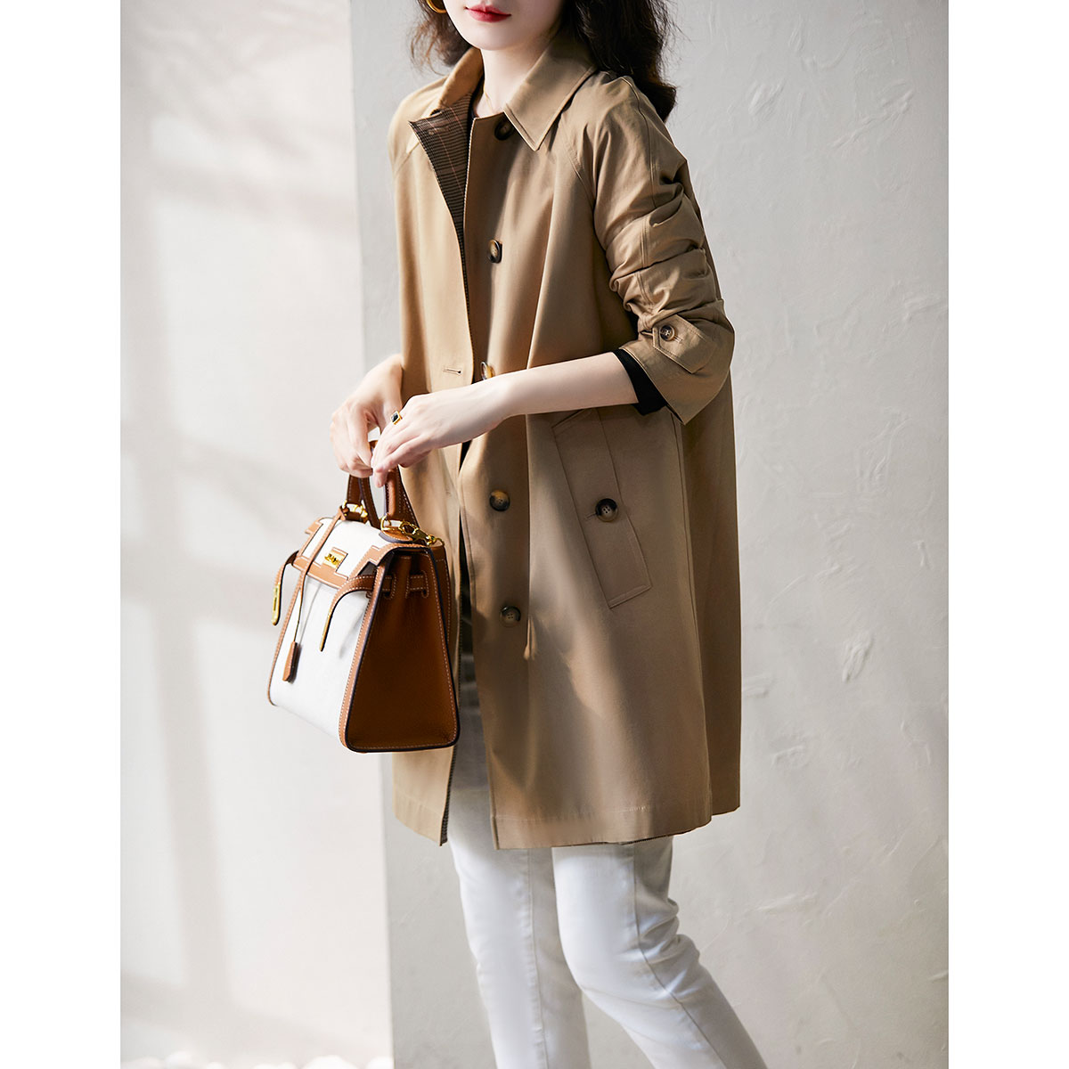 Xiaohan Ge I spring and Autumn trench coat jacket female medium length British wind feeling wild foreign air FY317162AG