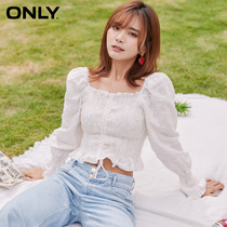 ONLY2020 autumn new draw rope 繫with long-sleeved square collar sweet bubble sleeve chiffon shirt girl) 120351036