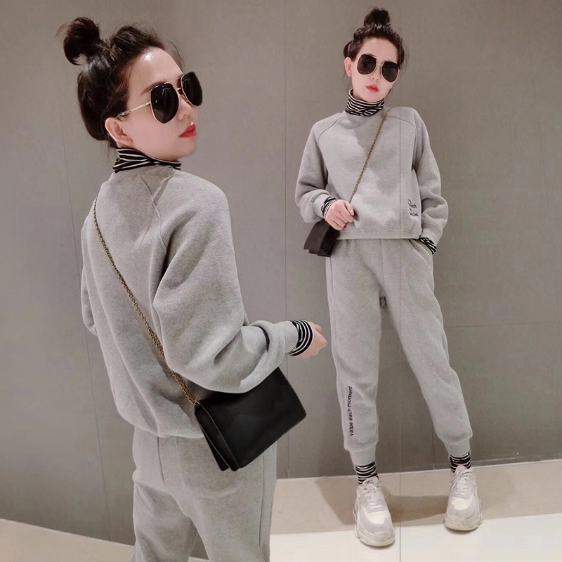 European station sports suit womens 2021 new burst fashion short style casual pure color loose tide